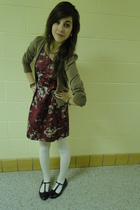 black shoes - brown cardigan - white tights