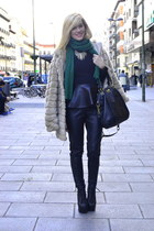 Zara top - Jeffrey Campbell boots - coach bag - H&M pants - Forever 21 necklace