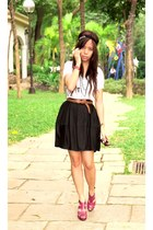 white knit gifted top - black Topshop skirt - headband Topshop accessories - red