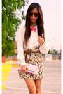 Tawny-vintage-sunglasses-hot-pink-forever21-skirt-ivory-ivory-vintage-blouse