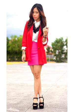 red vintage blazer - hot pink bodycon Zara skirt - white button down blouse