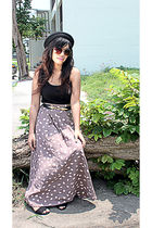 shopvintagefindsmultiplycom skirt - ichigo shoes - hat - Mango top - Topshop bel