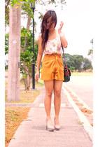 green-brown vintage bag - hi waisted tan vintage shorts - random accessories
