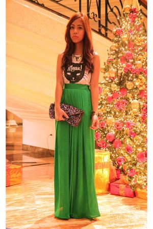 dark green palazzo pants - sequin clutch Accessorize purse