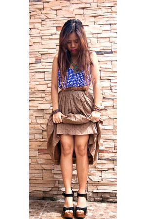 shopvintagefindsmultiplycom skirt - blue printed cotton on top