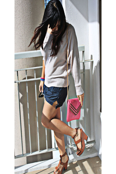 brown platform bclub shoes - pink sling My Cousins bag - denim Terranova shorts