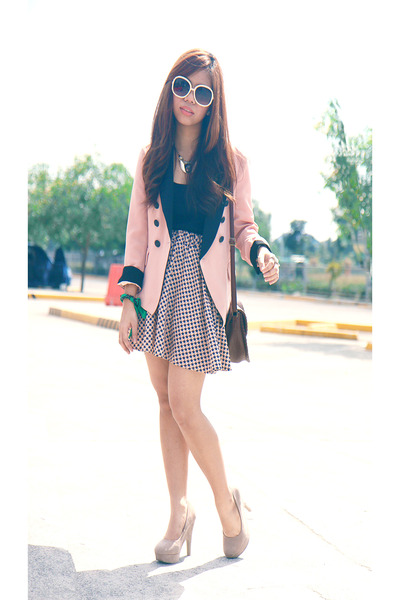 peach vintage blazer - bubble gum heart printed skirt