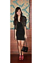 Forever21 blazer - Forever21 dress - fuschia shoes - Chanel lambskin 255 purse