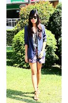 thrifted blazer - Zara top - floral shorts - Fringed necklace - rayban sunglasse