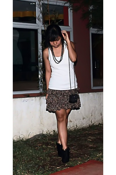 Topshop top - random necklace - BlackGold shoes - Chanel purse - thrifted skirt