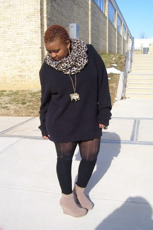 Thrift Store sweater - H&M scarf - Forever 21 necklace - rainbow wedges
