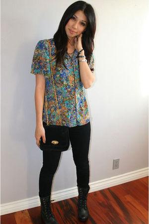 vintage blouse - vintage purse - black J Brand jeans - black Steve Madden boots