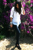 white trinity top - black Forever 21 jeans - black Topshop shoes - black Topshop