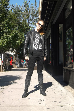 leather Oakwood jacket - damask Forever 21 jeans - Dir en Grey t-shirt
