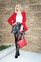 black tweed romwe skirt - black Zara shoes - red calvin klein blazer