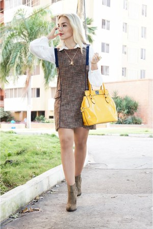 brown Zara boots - brown Choies dress - romwe bag