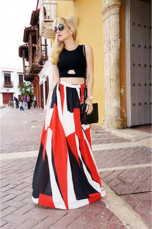 red style moi skirt - black Nine West bag - black romwe sunglasses