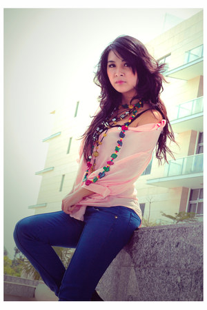 necklace - jeans - leggings - blouse