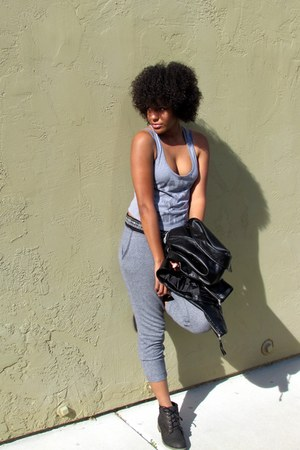 heather gray tank crop top Forever 21 top - black faux leather H&M jacket