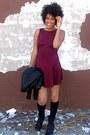 Black-combat-boots-steve-madden-boots-crimson-skater-american-apparel-dress