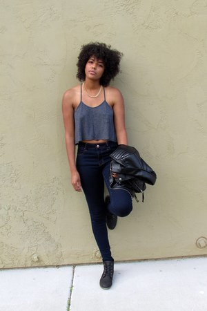 black booties Steve Madden boots - navy jeggings American Eagle jeans