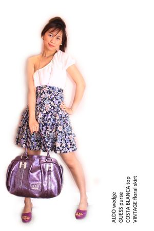 white top - purple skirt - purple purse