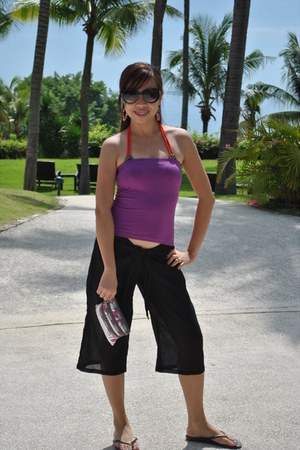 swimwear - magenta top - black shorts - Accessorize accessories - Mango sunglass