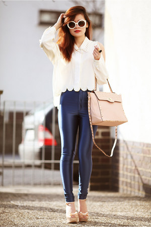 white diy DIY blouse - blue Urban Outfitters pants