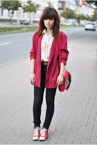 ruby red vintage blazer - black H&M jeans