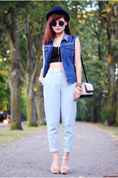blue denim vest vintage vest - black Urban Outfitters glasses