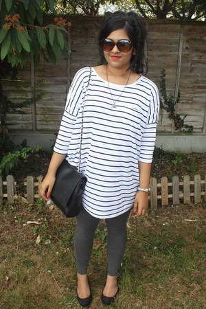 Zara bag - River Island sunglasses - stripe baggy H&M top - new look wedges