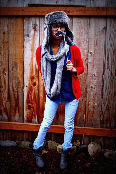 red cardigan - heather gray scarf - hat