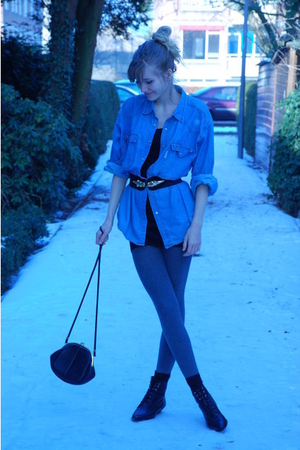 black vintage belt - blue thrifted blouse