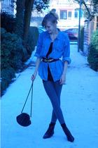 black vintage belt - blue thrifted blouse