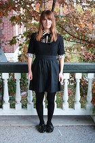 black Forever 21 dress - ivory Urban Outfitters shirt - green modcloth flats