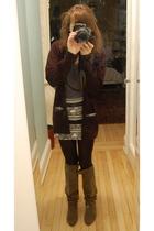 black Smitten cardigan - American Apparel skirt - black JCrew tights - brown boo