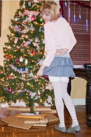 blue Marshalls dress - light pink Hot Topic tights - heather gray vintage flats