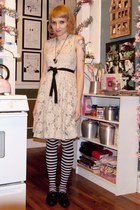 Anthropologie dress - Ebay tights - Ross shoes - anomaly jewelry necklace - Ebay