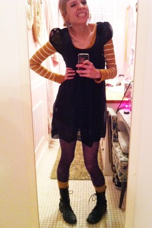 thrifted dress - Target tights - H&M socks - Target shoes - Ross shirt - sky blu