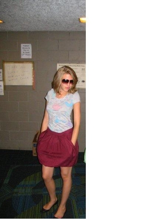 gray disney couture shirt - red skirt - black Bakers shoes