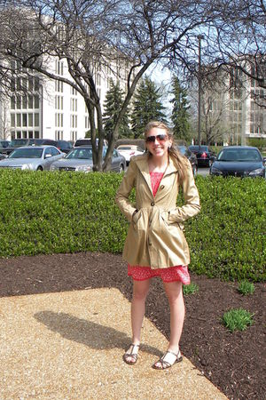 beige H&M jacket - pink Gap dress - gold isaac mizrahi shoes - brown Target sung