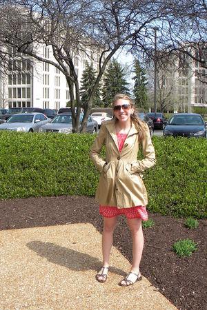 beige H&M jacket - pink Gap dress - gold isaac mizrahi shoes - brown Target sung