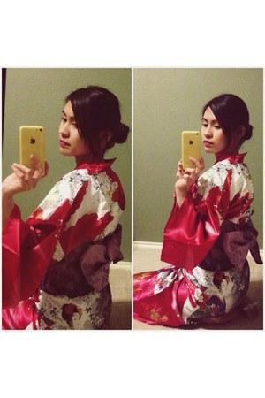 red kimono-yukata dress