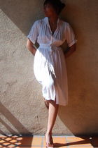 white vintage dress - brown Target shoes