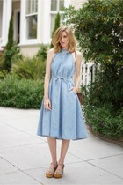 light blue Gap dress - tan Steve Madden clogs