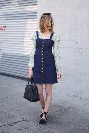 chartreuse H&M top - black asos shoes - navy madewell dress