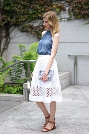 blue Forever 21 bag - white Anthropologie skirt - navy Anthropologie top