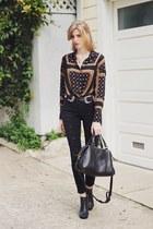 black 3x1 jeans - black free people top