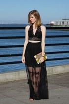 black asos skirt - olive green Urban Outfitters bag - black asos top