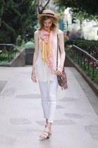 light orange Anthropologie scarf - ivory Anthropologie top